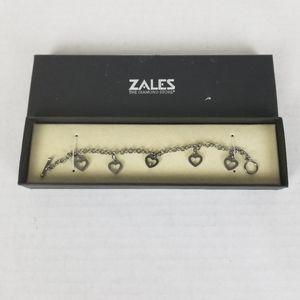 Zales Sterling Silver Open Heart Charm Bracelet